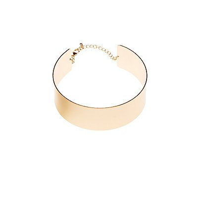 Gold Tone Plate Choker Necklace