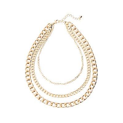 Curb Chain Trio Necklace
