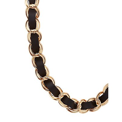 Faux Leather & Chain Necklace