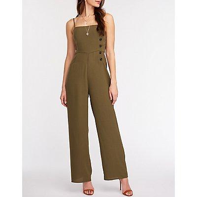 Asymmetrical Button Up Wide Leg Jumpsuit
