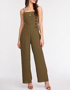 Asymmetrical Button Up Wide Leg Jumpsuit