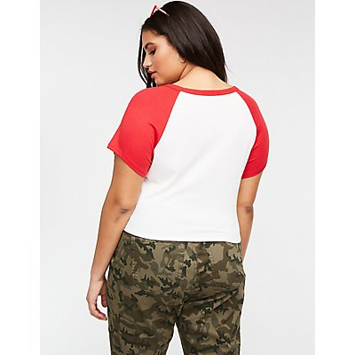 Plus Size Ribbed Baseball Crop Tee