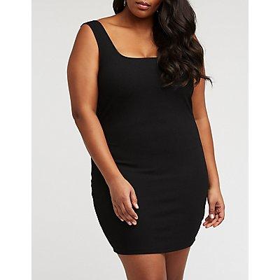 Plus Size Square Neck Bodycon Dress