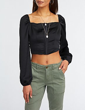 Square Neck Popover Top