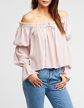 Off The Shoulder Self Tie Blouse