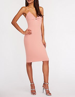 Twisted Midi Bodycon Dress