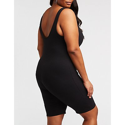 Plus Size Bike Short Romper
