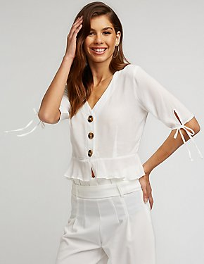 Button Up Peplum Blouse
