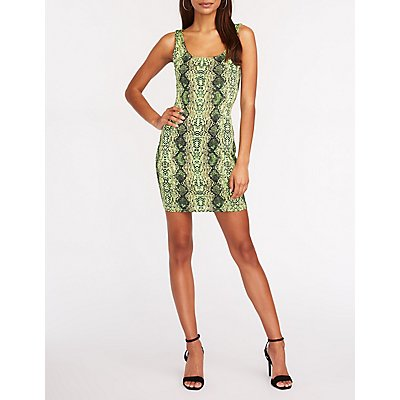 Neon Snakeskin Print Bodycon Dress