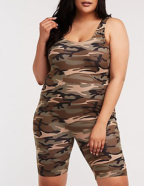 Plus Size Camo Bike Short Romper