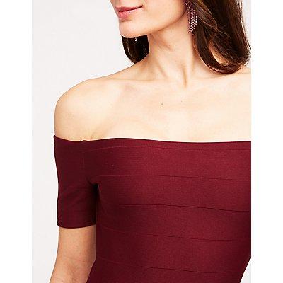 Off The Shoulder Bandage Bodycon Dress
