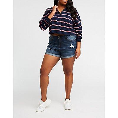 Plus Size Refuge Girlfriend Denim Shorts