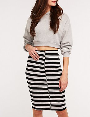 Striped O Ring Pencil Skirt