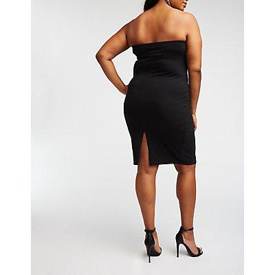 Plus Size Strapless Mini Bodycon Dress