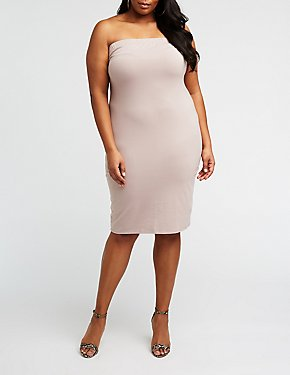 Plus Size Strapless Mini Bodycon Dress