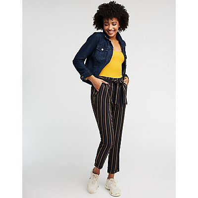 Striped Paperbag Trousers