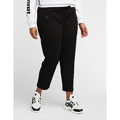 Plus Size Drawstring Crop Trousers