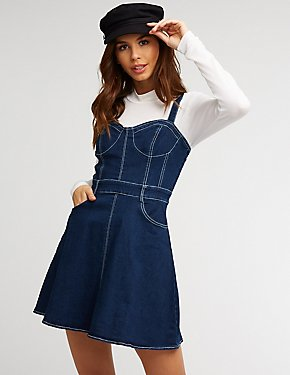 Denim Bustier Skater Dress
