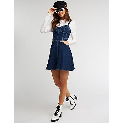 Denim Bustier Skater Dress