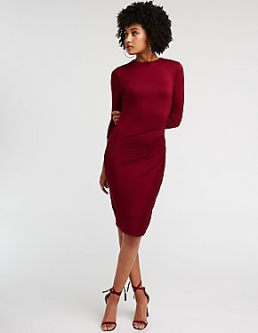 Ruched Midi Bodycon Dress