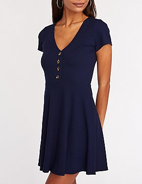 V Neck Button Up Skater Dress