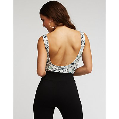 Money Print Open Back Bodysuit