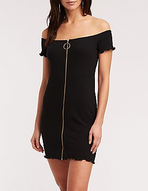 O Ring Zip Up Bodycon Dress