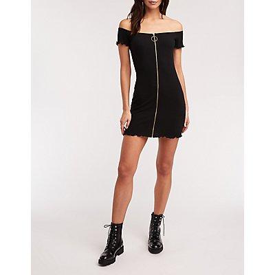 O Ring Zip Up Bodycon Dress