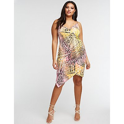 Plus Size Snakeskin Print Wrap Dress