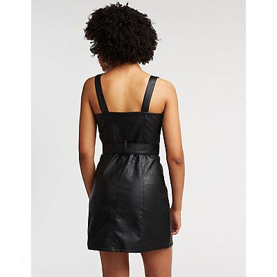Faux Leather Moto Bodycon Dress