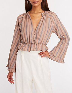 Striped Button Up Peplum Top