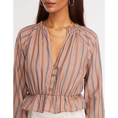 Striped Button Up Peplum Top