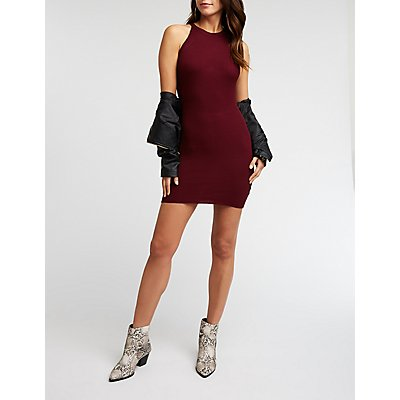 Racer Neck Cut Out Bodycon Dress