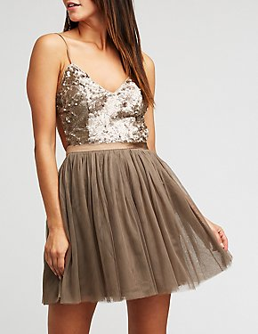 Sequin Bodice Tulle Skater Dress