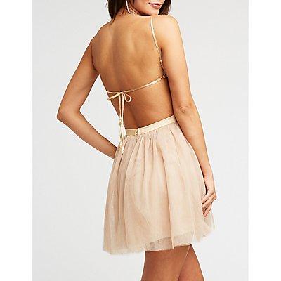 Sequin Bodice Tulle Skater Dress