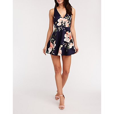 Floral Crisscross Back Skater Dress