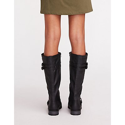Double Buckle At The Knee Boots