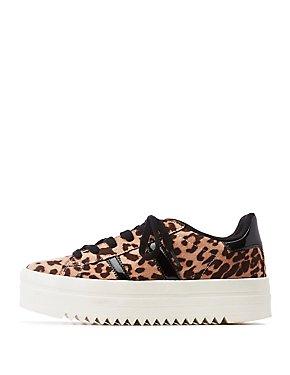 Leopard Double Stripe Platform Sneakers
