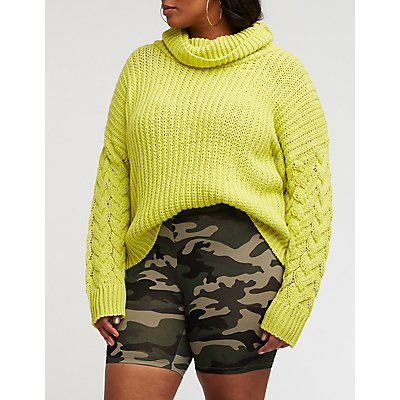 Plus Size Camo Bike Shorts