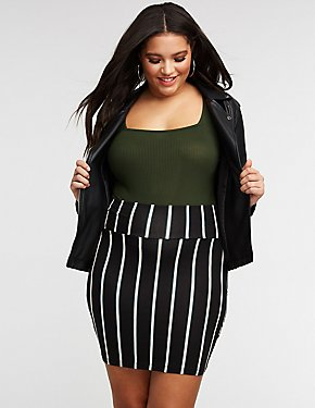Plus Size Striped Mini Skirt
