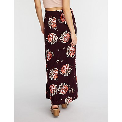 Floral Maxi Slit Skirt by Charlotte Russe