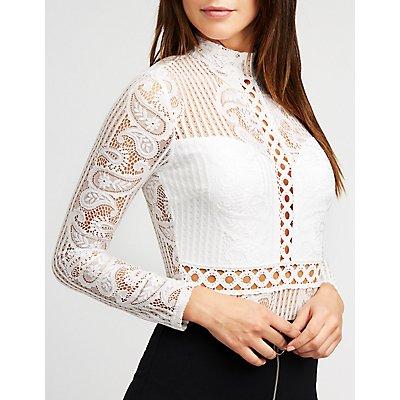 Mock Neck Lace & Crochet Bodysuit
