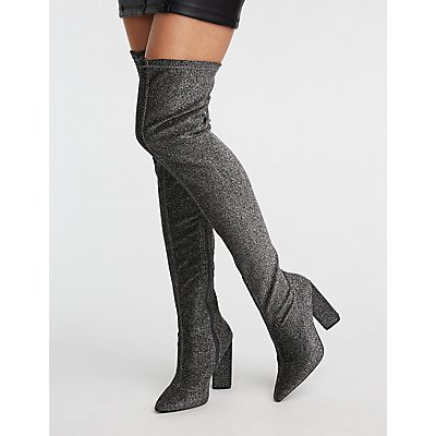 Glitter Lurex Over The Knee Boots