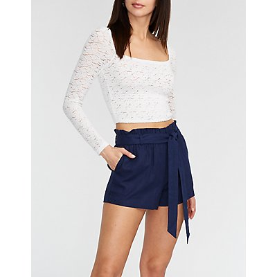 Linen Front Tie Paperbag Shorts