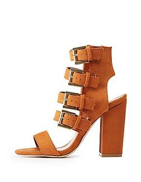 Buckle Strap Block Heel Sandals
