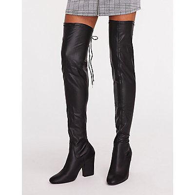 Faux Leather Over The Knee Boots