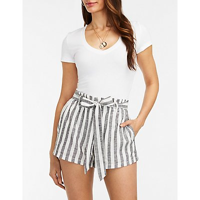 Striped Tie Front Linen Shorts