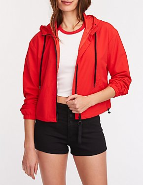 Nylon Hooded Track Jacket