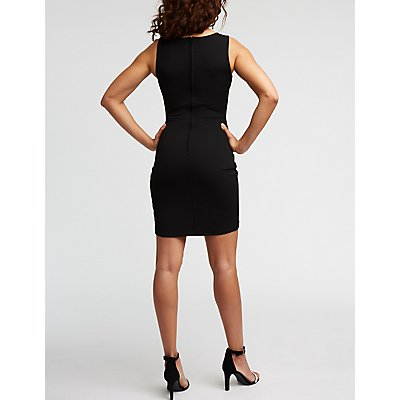 Wired V Neck Ruched Dress