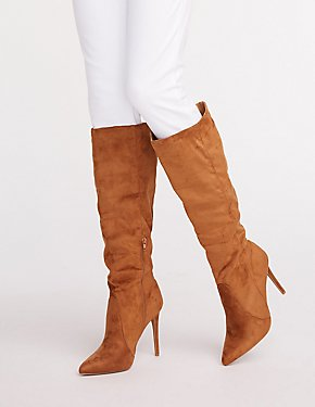 Faux Suede Pointed Toe Boots